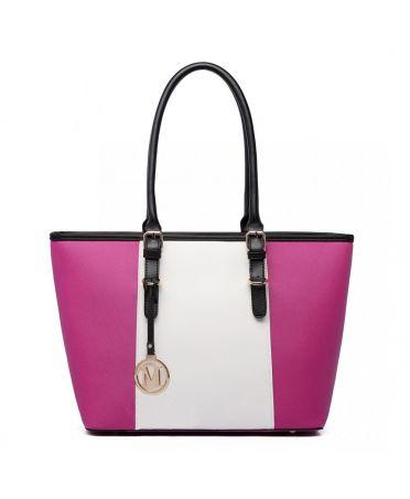 Miss LuLu růžová-bílá tote kabelka s nastavitelnými uchy E1661 PM