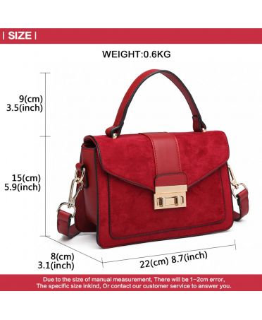 Miss Lulu červená kabelka MIDI MATTE 6872 LB6872 RD