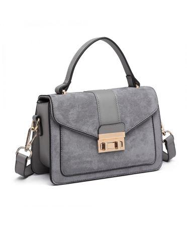Miss Lulu šedá kabelka MIDI MATTE 6872 LB6872_GY