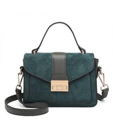 Miss Lulu zelená kabelka MIDI MATTE 6872 LB6872 GN
