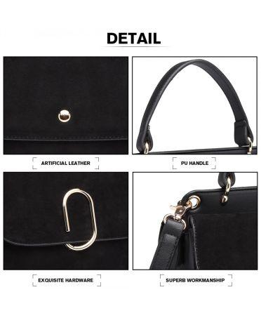 Miss Lulu stylová černá crossbody kabelka SUEDE 6871 LB6871 BK