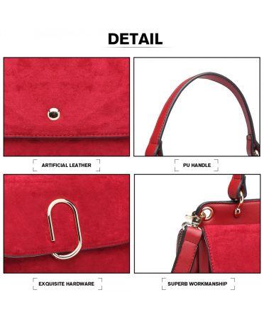 Miss Lulu stylová červená crossbody kabelka SUEDE 6871 LB6871 RD