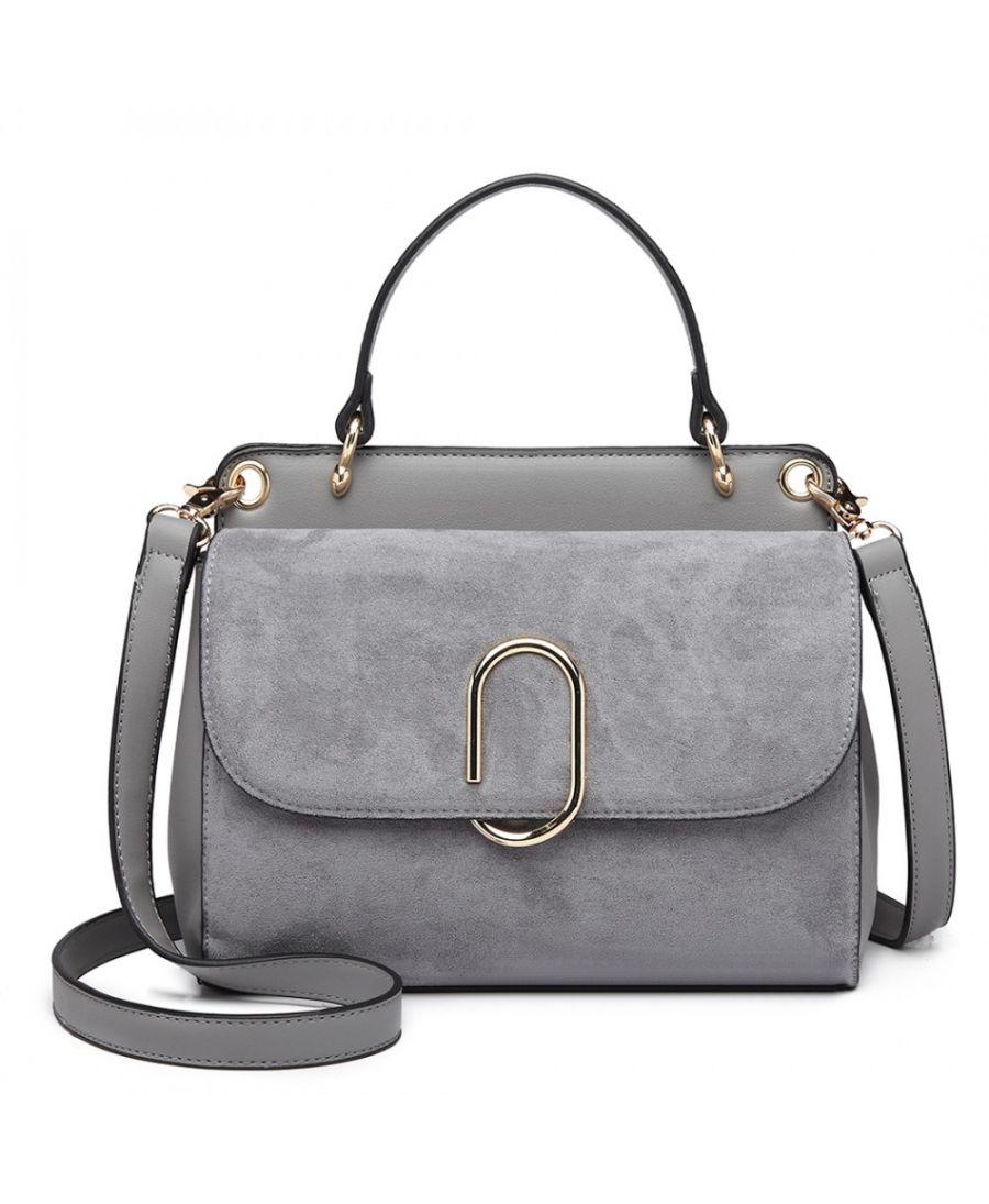 Miss Lulu stylová šedá crossbody kabelka SUEDE 6871 LB6871 GY