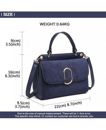 Miss Lulu stylová tmavě modrá crossbody kabelka SUEDE 6871 LB6871 NY