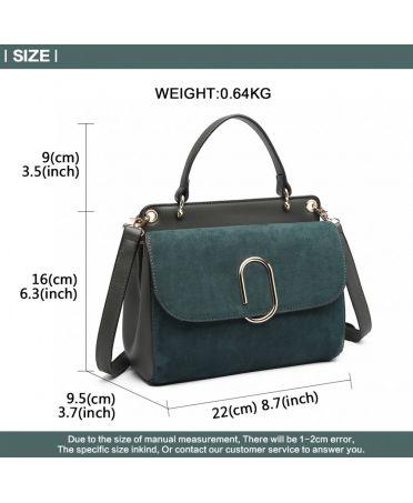 Miss Lulu stylová zelená crossbody kabelka SUEDE 6871 LB6871 GN