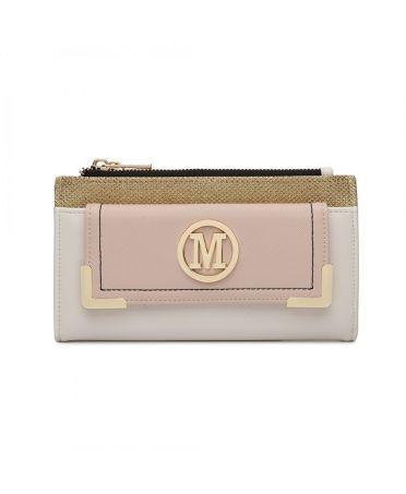 Miss LuLu bílá-nude dámská peněženka M METAL LOGO 6882 LP6882_WE/NE
