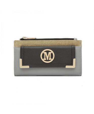 Miss LuLu šedá dámská peněženka M METAL LOGO 6882 LP6882_GY