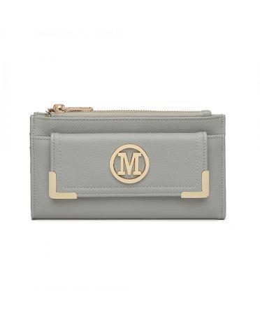 Miss LuLu světle šedá dámská peněženka M METAL LOGO 6882 LP6882_LGY