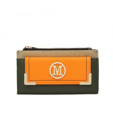 Miss LuLu zelená-oranžová dámská peněženka M METAL LOGO 6882 LP6882_GN/OE
