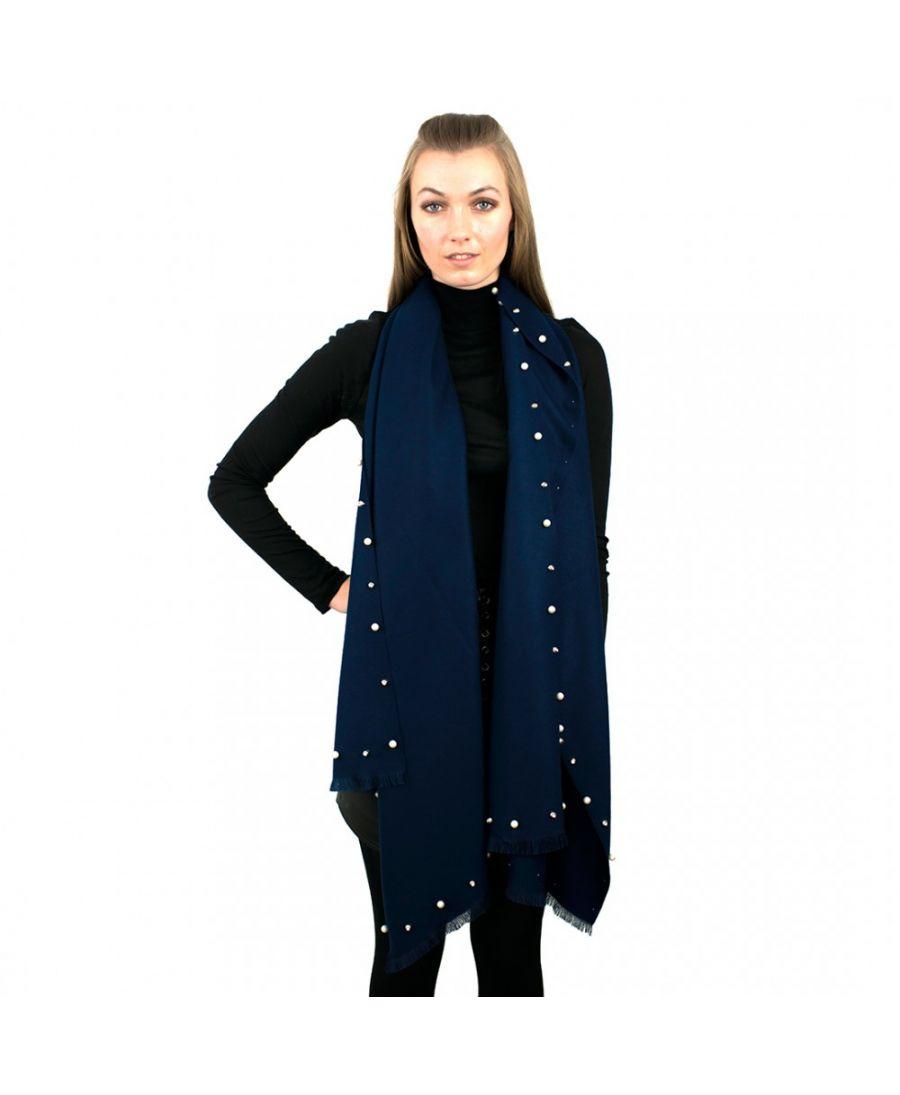 Miss Lulu námořnicky modrá maxi šála s perličkami 6424 S6424NY