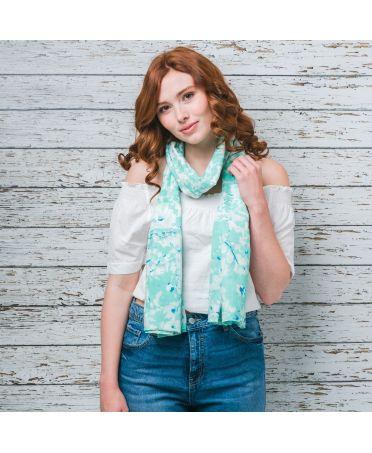 Saffron & Co bílý-tyrkysový dámský maxi šátek Sybil 11 wd0011c03