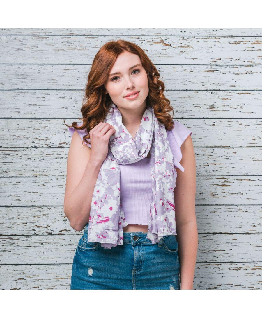 Saffron & Co bílý-fialový dámský maxi šátek Sybil 11 wd0011c06
