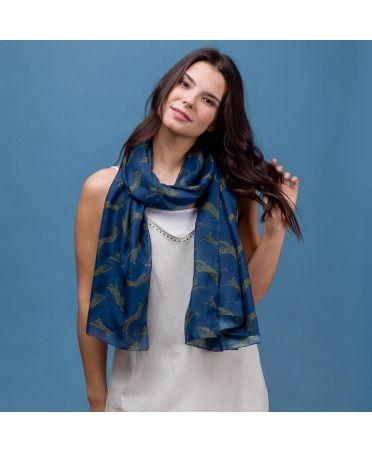 Hazel & Pip dámský modrý maxi šátek Leopard 2225 rc2225c02