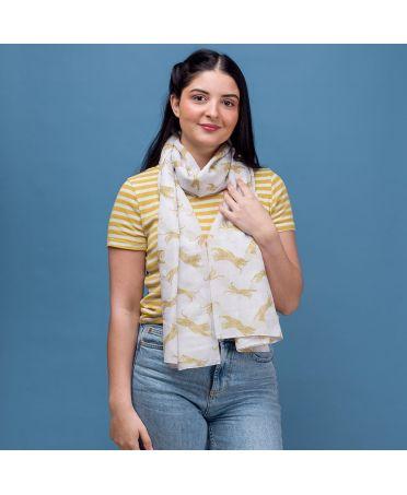 Hazel & Pip dámský bílý maxi šátek Leopard 2225 rc2225c15