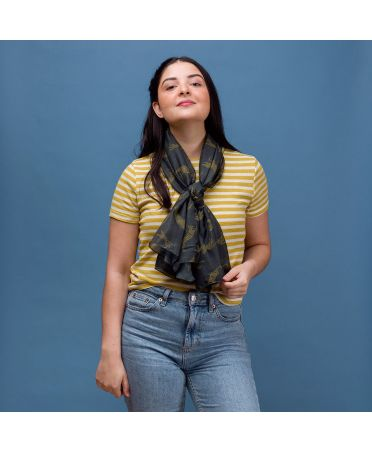 Hazel & Pip dámský šedý maxi šátek Leopard 2225 rc2225c15
