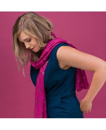 FJ Collection růžový dámský šátek Foil Snowflake 1827 zg1827c07