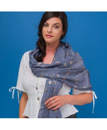 FJ Collection šedý dámský šátek Foil Snowflake 1827 zg1827c26