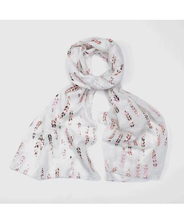 FJ Collection bílý dámský šátek Foil Wheat 2052 sg2052c15
