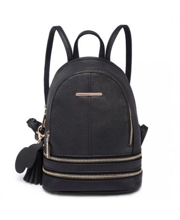 Miss Lulu luxusní malý černý dámský batoh 1705 LT1705_BK