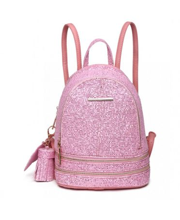 Miss Lulu luxusní malý růžový dámský batoh Glittering 1763 LT1763PK