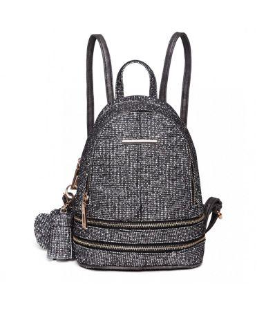 Miss Lulu luxusní malý černý dámský batoh Glittering 1763 LT1763BK