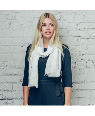 Hazel & Pip krémový maxi šátek Foil Fern 1088 zg1088c15