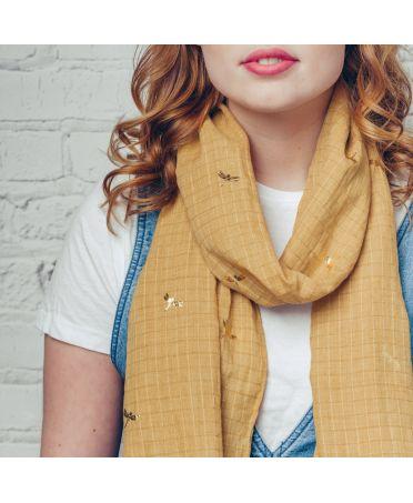 Hazel & Pip žlutý maxi šátek Foil Dragonfly Lake 1245 zg1254c05