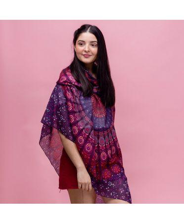 Hazel & Pip fialový dámský maxi šátek Fleur 2211 zh2211
