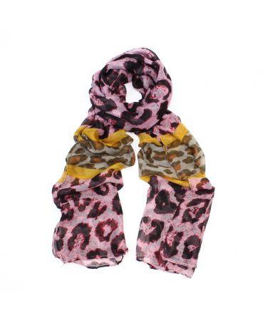 Poppy růžový dámský maxi šátek Leopard 3206 xb3206c07
