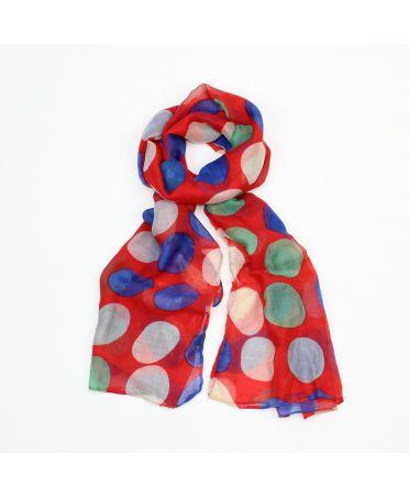 Poppy červený dámský maxi šátek Spotty 3203 xb3203c01
