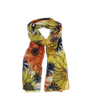 Poppy žlutý dámský maxi šátek Floral 3201 xb3201c05