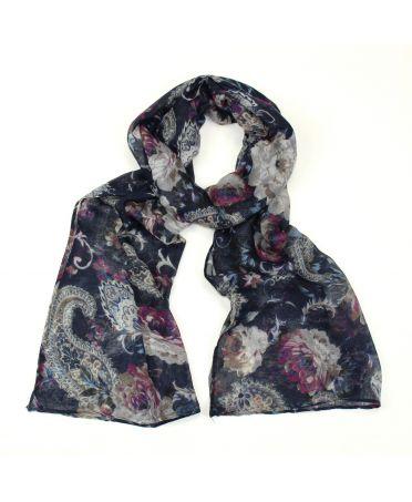 Poppy modrý dámský maxi šátek Floral 2165 xs2165c02