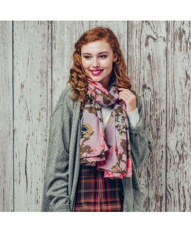 Saffron & Co růžový dámský maxi šátek Opal 1139 wd1139c07