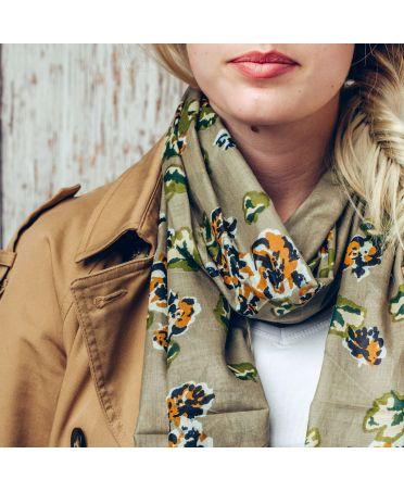 Saffron & Co zelený dámský maxi šátek Eden 1140 wd1140c03