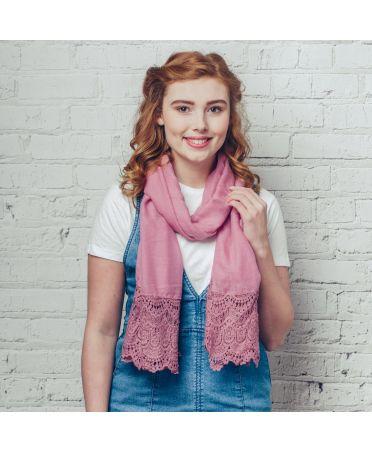 FJ Collection růžový dámský maxi šátek Millie 1221 sf1221c07