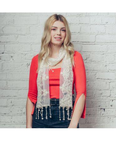 FJ Collection krémový dámský šátek Samantha Lace 1218 sf1218c22