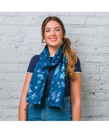Saffron & Co modrý dámský maxi šátek Aideen 10 wd0010c02
