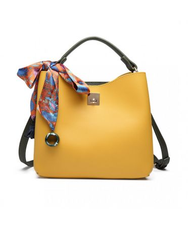 Miss Lulu žlutá-zelená tote kabelka SILK SCARF DECOR 1813 E1813 YW/GN