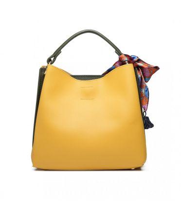 Miss Lulu žlutá-zelená tote kabelka SILK SCARF DECOR 1813 E1813_YW/GN
