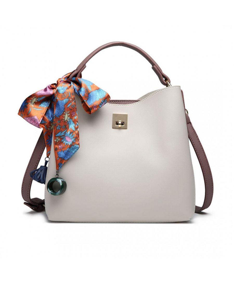 Miss Lulu krémová-béžová tote kabelka SILK SCARF DECOR 1813 E1813 GY/PE
