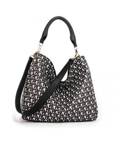 Anna Grace černá-bílá hobo kabelka s potiskem 573 AG00573P_BLACK/WHITE