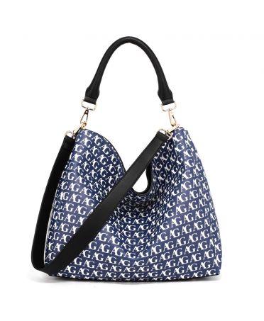 Anna Grace modrá hobo kabelka s potiskem 573 AG00573P_BLUE