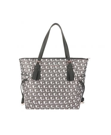 Anna Grace černá shopper kabelka s potiskem 752P AG00752P_BLACK/WHITE