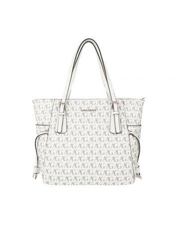 Anna Grace bílá shopper kabelka s potiskem 752P AG00752P_WHITE