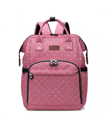 Kono multifunkční růžový dámský batoh taška na kočárek DOTTED 6705 E6705D2PK