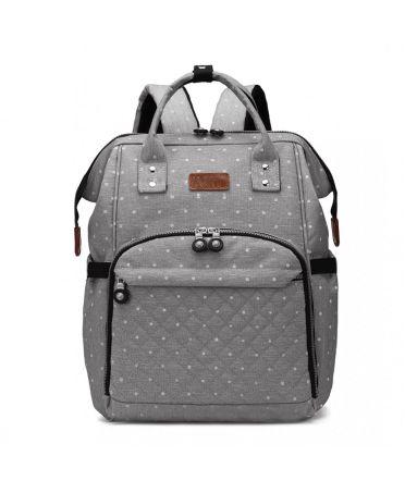 Kono multifunkční šedý dámský batoh taška na kočárek DOTTED 6705 E6705D2GY