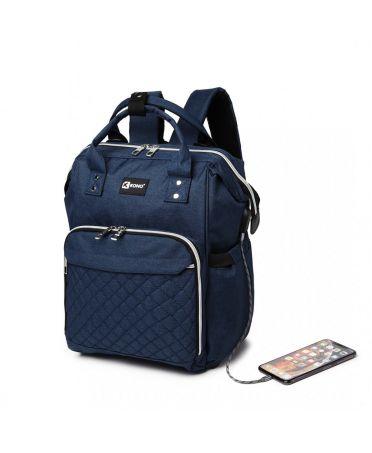 Kono multifunkční modrý dámský batoh taška na kočárek USB 6705 E6705USBNY