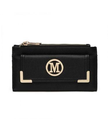Miss LuLu černá dámská peněženka M METAL LOGO 6882 LP6882_BK