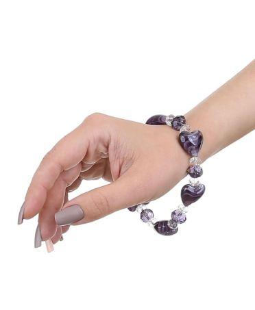 Dudlin Firenze dámský náramek s fialovými korálky HEARTS 26 bjd-br0026-violet