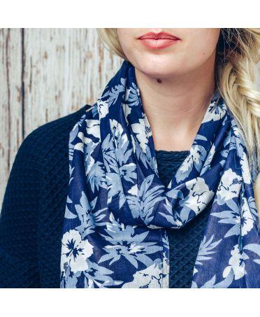 Saffron & Co modrý dámský maxi šátek Maple 1142 wd1142c02